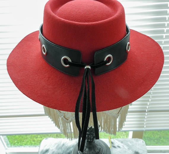 Black Faux Leather with Silver Studs /& Grommets and Four 4 Leaf Clover Wide Hatband Hat Band Western Cowboy Cowgirl Rodeo