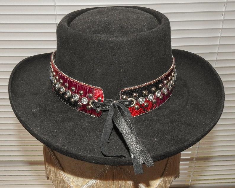 Dark Fushia /& Purple Reptile DIAMONDS STUDS Bling Bling Hatband Hat Band Woman Man Unisex Cowboy Cowgirl Rodeo