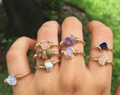 Adjustable 14k Gold Fill Wire Wrapped Crystal Ring Gold Gemstone Ring Stacking Ring Raw Crystal Ring Boho Ring Wire Rings Custom Ring