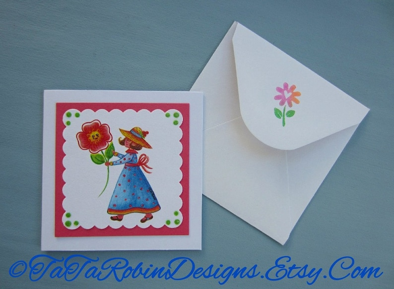 TaTa/'s Spring Note Card Set-Originial Prints-Six Designs-With Envelopes-Flowers-Thank you-Bee Hive-Birthday-Butterfly-Blue Bird-Love-Glitter