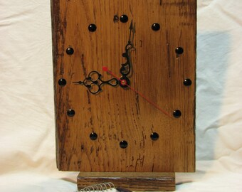 Reclaimed Wood Clock for Mantle / Desk / Wall, 6.5 x 8 Inch, Removable Stand, Natural Color, Silent Quartz Motor