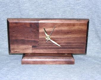 Solid Wood Quartz Desk Clock, 8 x 4.75 Inch