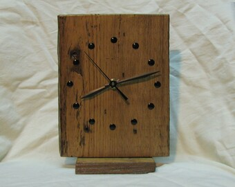 Reclaimed Wood Clock for Mantle / Desk / Wall, 6.5 x 8 Inch, Removable Stand, Natural Color, Silent Quartz Motor #2