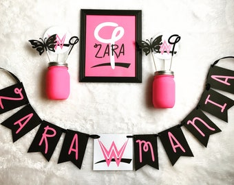 WWE Divas Party Pack - Banner / Cupcake Toppers / Photo Display / Custom Shirt / Invites / Centerpieces / Decor and More!