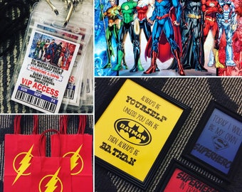 Superhero Party Pack - Invites, Favor Bags, Decor, Framed Quotes & More