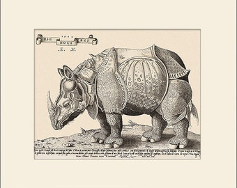 Rhinoceros Print, Durer-Vico, 1548, Art Print with Mat, Note Card Antique Natural History Illustration, Wall Art, Wall Decor, Animal Print