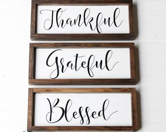 Thankful, Grateful, Blessed, Farmhouse Decor, Framed Wood Sign, Fixer Upper  Sign, Dining Room Signs, Grateful Thankful Blessed Sign