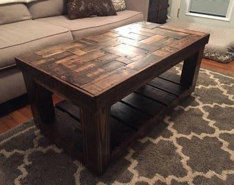 Wood Pallet Coffee Table No Legswheels Etsy - Coffee table no legs