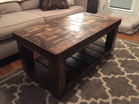 Wood Pallet Puzzle Pieced Coffee Table Etsy