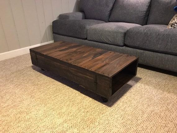 Wood Pallet Coffee Table No WheelsLegs Etsy - Coffee table no legs