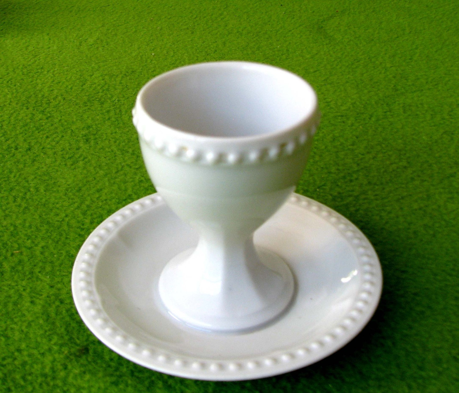 Vintage Egg Cup with Attached Plate, Hutschenreuther Porcelain Co. of Bavaria, Germany in the 1925 to 1939 Time Period
