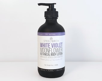 White Violet Moonflower Botanical Body Lotion | Free Shipping | Natural Lotion |  Aloe Vera | Shea Butter | Violet | Essential Oil
