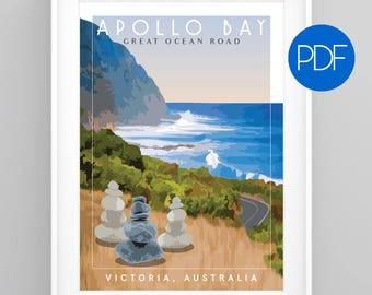 Great Ocean Road, Victoria, AUSTRALIA Vintage Travel Poster, diy printable pdf/jpeg download