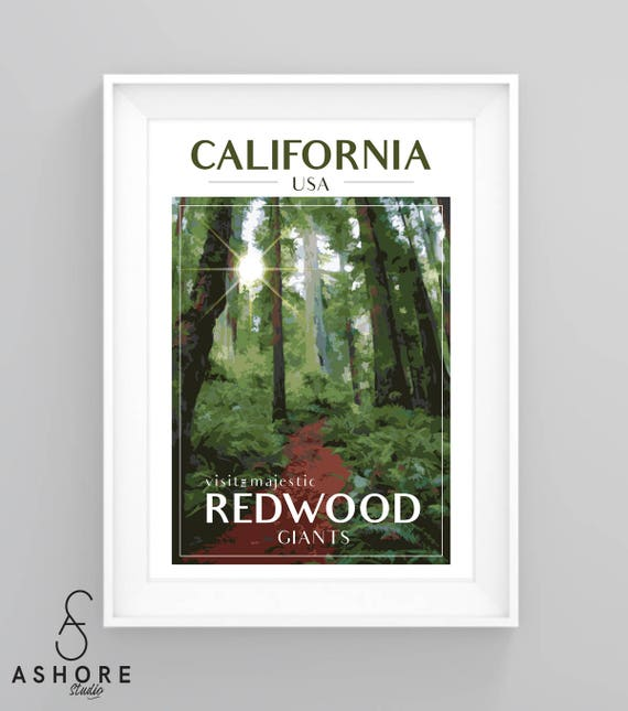 VINTAGE SEQUOIA NATIONAL PARK CALIFORNIA TRAVEL A3 POSTER PRINT