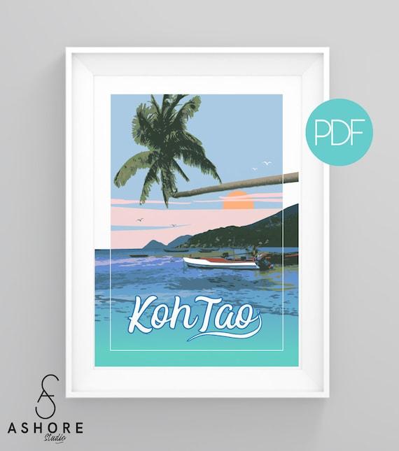 Maldives Vintage-Style Travel Poster Postcard Clear Blue Paradise Mult Sizes