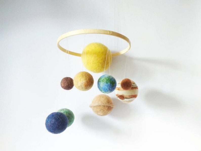 New design Small Solar System Mobile with silk fibers, Small set of Solar  System Planets Mobile, Best wool guality with silk, Wooden ring