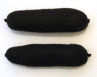 40's Brunette Hair Roll Foundation Wool Hair Rat set of 2