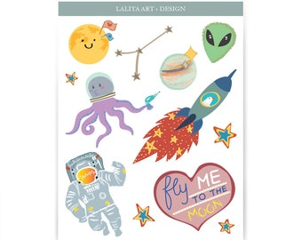 Two Set of Stickers: Traveling Theme and Galaxy Theme
