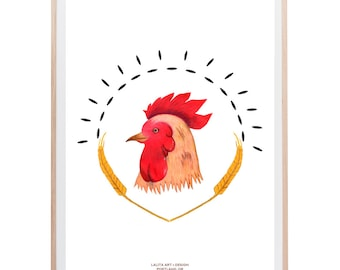 "Land Chicken Art Print - 11"" x 14"""