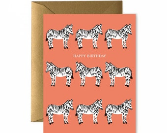 Zebras Blank Birthday Card