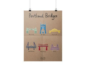 "Portland Bridges Art Print (8"" x 11"")"