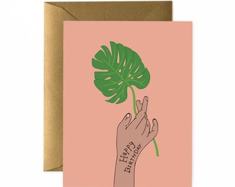 Monstera Is A New Rose Birthday Card // Blank Card