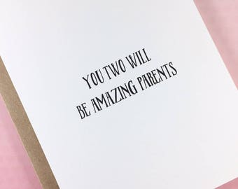 Baby shower card/New parents/Congratulations on your baby/Expecting card/Amazing parents