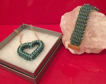 Swarovski Turquoise Pearls and Aquamarine Satin Crystal Necklace and Bracelet