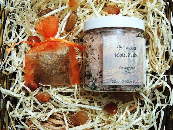 Courage Bath Salts + Pouch, Carnelian    gemstone bath salts, flowers,  herbs, 8oz
