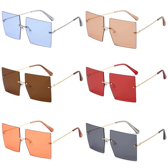 Rimless Square Oversized Sunglasses