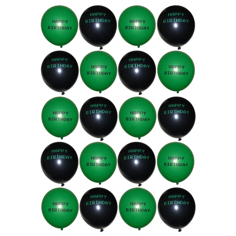 Set of Gamer Themed Green and Black Happy Birthday 12