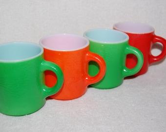 Vintage Glassware Coffee Mugs Set/4