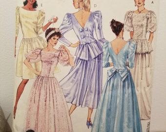 UNCUT 90s Butterick 4563 Dress Pattern Size 12 14 16-80s Formal Dress #PP303 80s Bridesmaid Dress Factory Folded 80s Wedding Dress