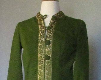 60s Green and Gold Sheath Dress