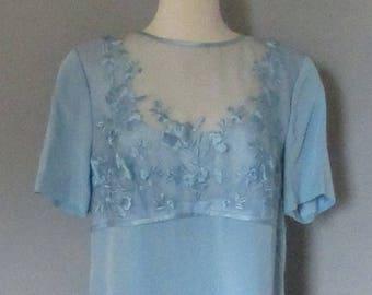 80s Light Blue Silk Evening Dress