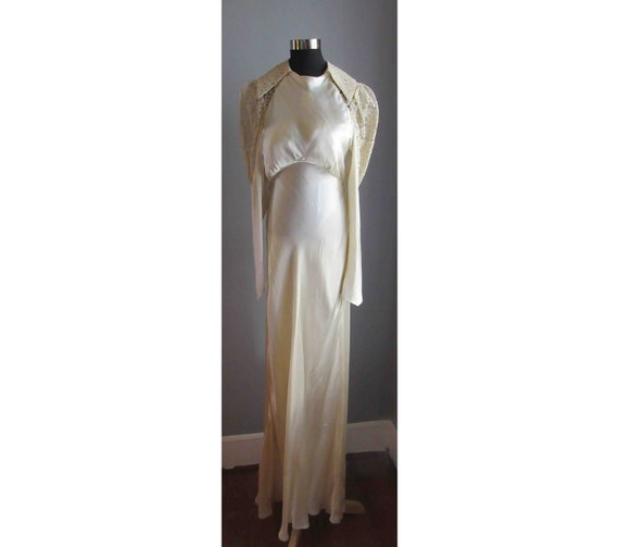 30s Silk and Lace Wedding Dress
