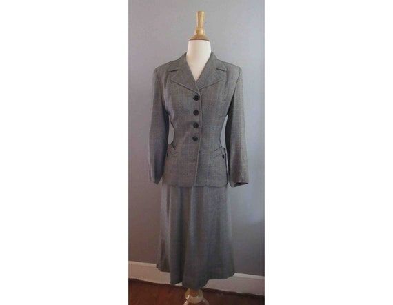 40s Joselli Plaid Skirt Suit
