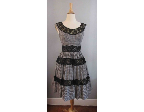 50s Black and White Gingham Dress with Black Lace