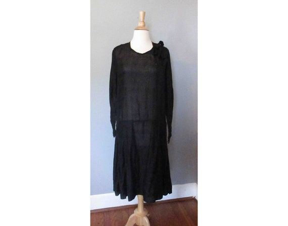 Black Embroidered Cotton 20s Dress