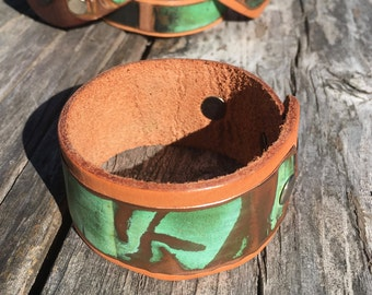 Salvaged Copper and Leather Cuff/Bracelet