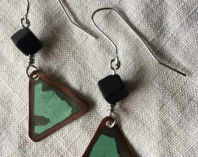 Salvaged Copper & Vintage Glass bead on Sterling Silver findings