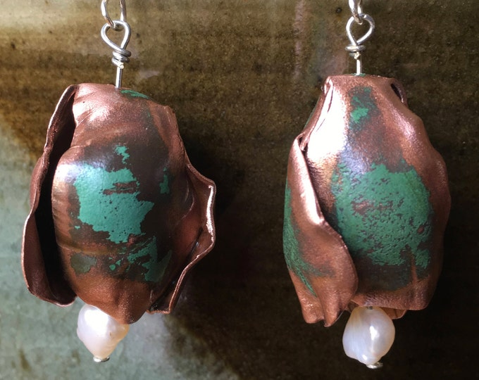 Salvaged Copper & Freshwater Pearl on Sterling Silver findings