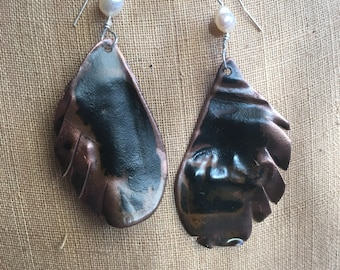 Salvaged Copper Fresh Water Pearl