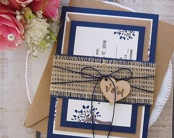 Rustic Wedding Invitation Suite, Rustic Wedding, Printed invitation Set, Burlap Wedding Invitation, Rustic Invitation, Elegant Assembled