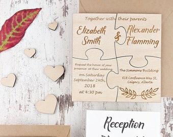 Rustic Wedding Invitation Puzzle Real Wood Invitations Engraved