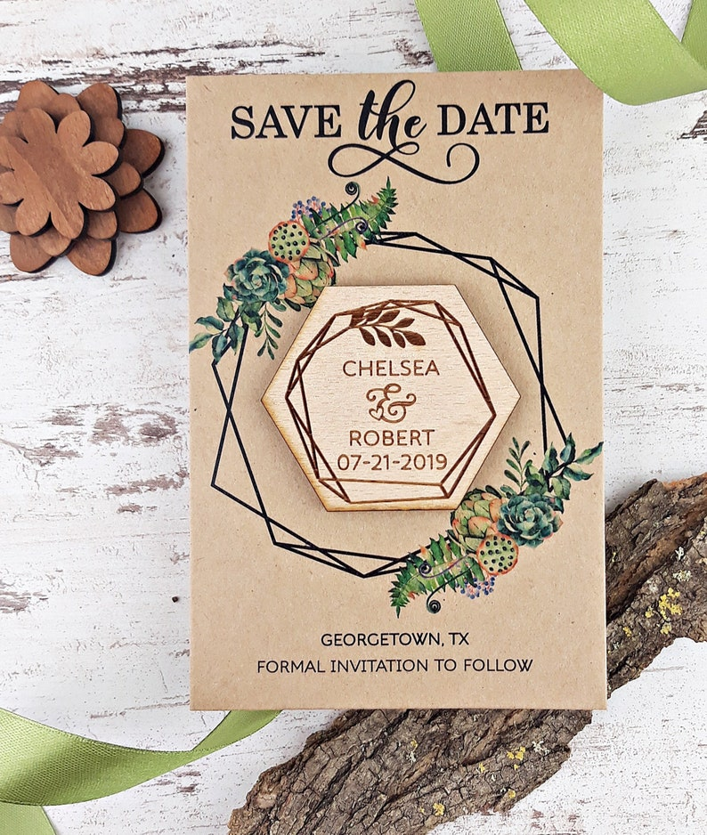 121f91cb910bd Geometric Wedding Trend Save-The-Date Magnet