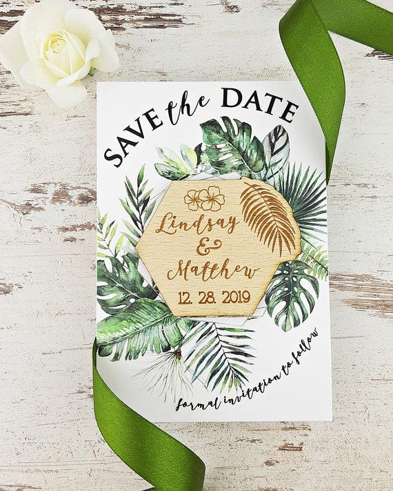 Palm Leaf Wood Magnet Palm Leaf Save The Date Magnet Pack your bag Destination Wedding Custom Save the Date Rustic Tropical Wood Magnet