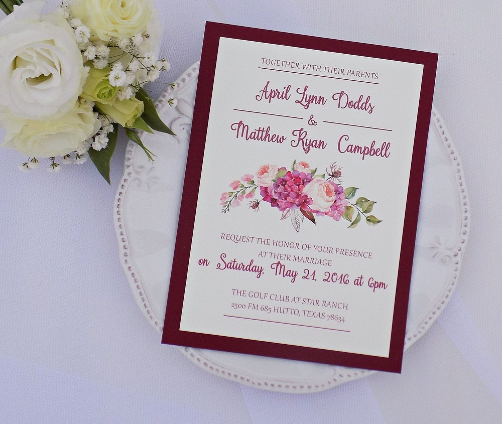 Burgundy Wedding Invitation Set Boho Wedding Scarlet Wedding ...
