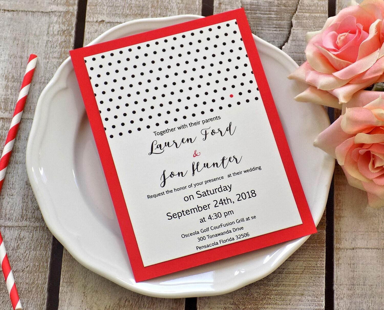 Modern Wedding Invitation Suite, Red Wedding, Custom Wedding ...