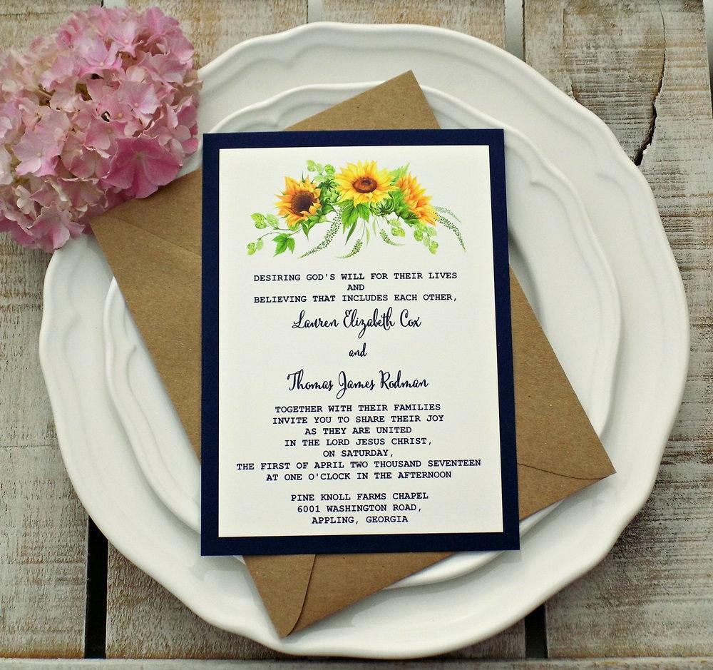 Sunflower Wedding Invitation, Wedding Invitation, Sunflower Burlap ...